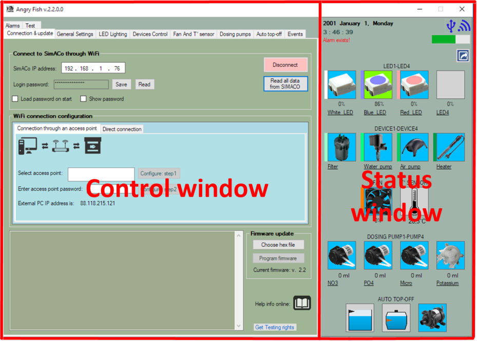 Angry Fish application's Control and Status windows