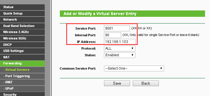 Port forwarding in the TP-Link router