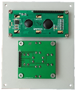 SimACo panel with mounted LCD and buttons board back